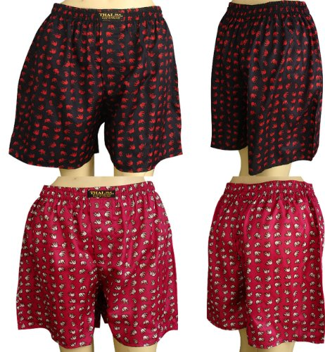 Thai Boxer Costume (2 X Men's Thai Silk Boxer Shorts-Small Elephants Design With Complimentary)