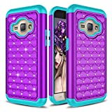 J1 (2016) Case, Amp 2 Case, Express 3 Case, Zenic(TM) Studded Rhinestone Bling [Drop Protection] Hybrid Dual Layer Protective Case for Samsung Galaxy J1 / Amp 2 / Express 3 / Luna 2016 (Purple/Teal)