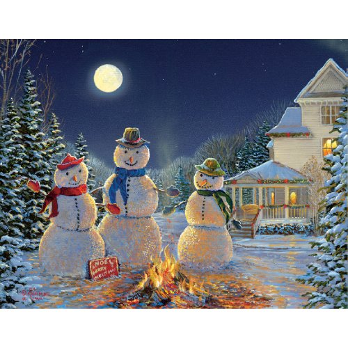 Lang 5.375 x 6.875 Inches Perfect Moonlit Snowmen Boxed Christmas Card, 18 Cards with 19 Envelopes (1004741)