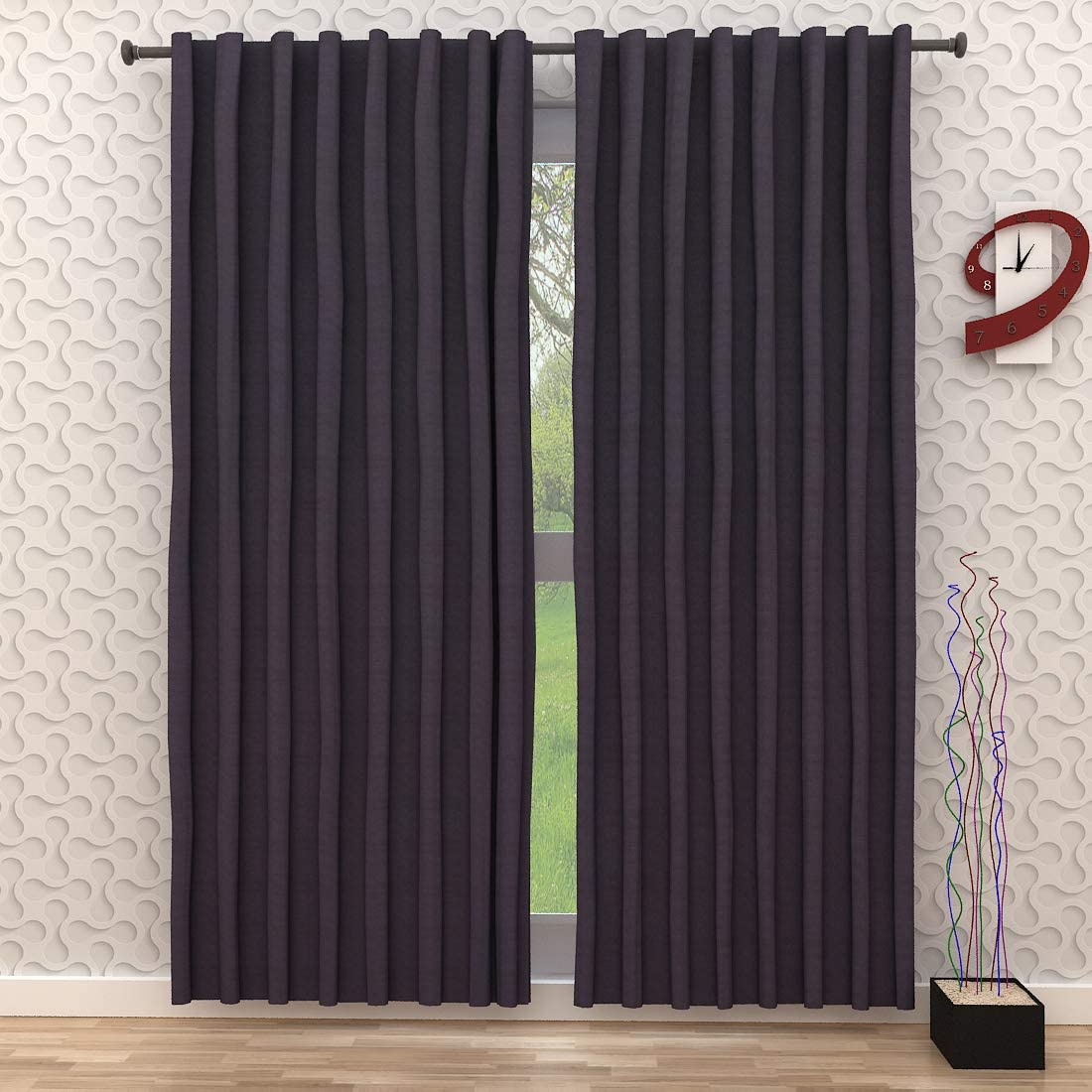 Linen Clubs Set of 2,100 Slub Cotton Duck Curtain Charcoal,Cotton Duck Reverse Tab Top Window Panels-50×108 inch,Machine Washable for Easy Care