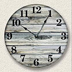 Fancy This Rustic Wall Clock Weathered Boards Image Beach Sand Tan Cabin Country Decor