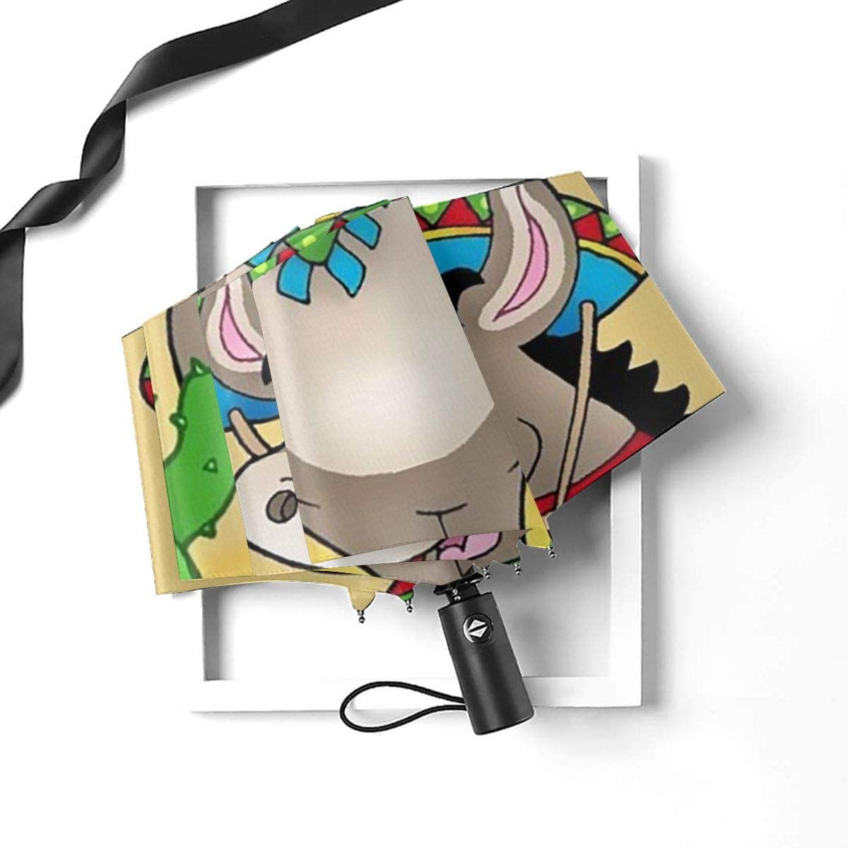 Mexican Donkey With Cactuses Umbrella Compact Rain/&Wind Repellent Umbrellas Sun Protection With Anti UV Coating Travel Auto Folding Umbrella