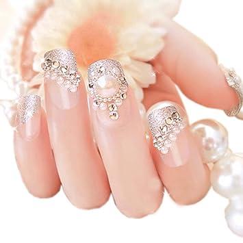 Amazon Charming Wedding Bridal French Nails Fake Nail