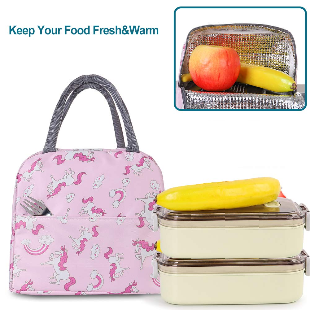 Buringer Insulated Lunch Bag Cooler Tote with Front Pocket Zipper Closure for Woman Man Work Pinic or Travel Blue Red Flamingo