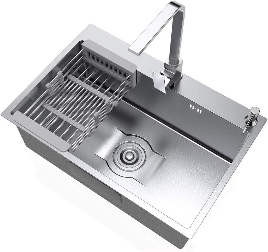 キッチンシンク キッチンシンクシングルスロットステンレス鋼の肥厚シンクは、Aの蛇口が含まれていませ 台所の流し台 (Color : Silver, Size : 68x45cm)