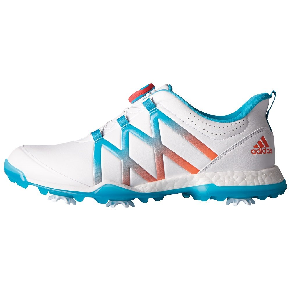 adidas Women's Adipower Boost Boa Golf Shoes, Ftwr White/Energy Blue/Easy Coral, 9.5 M US