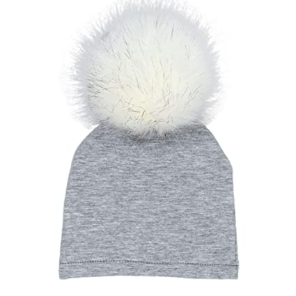 4f10e0e34c8 Weiyun Baby Winter Hairball Hat Baby Bobble Beanies Cotton Caps Big Faux Fur  Pompom Hats Kids Boys Girls Hair Ball Cap (Gray)  Amazon.in  Baby