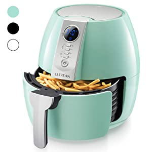 Ultrean Air Fryer, 4.2 Quart (4 Liter) Electric Hot Air Fryers Oven Oilless Cooker with LCD Digital Screen and Nonstick Frying Pot, ETL/UL Certified,1-Year Warranty,1500W (Blue)