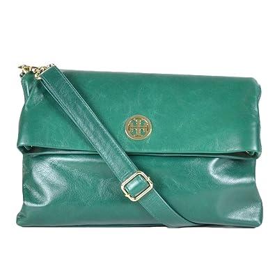 8c40b4dda1be Amazon.com  Tory Burch Dena Messenger Cross-body Bag in Malachite Green  Leather  Shoes