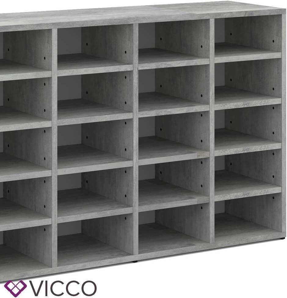 Vicco Schuhschrank LYSANDER f/ür 20 Paar Schuhe Schuhst/änder Schuhablage Flur Diele Beton