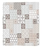 Chaoran 1 Fleece Blanket on Amazon Super Silky Soft All Season Super Plush Arabian Decor etOriental Motif Pastel Patchwork Pattern with Filigree Ornaments Illustration Art Accessories Beige Grey