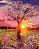 TianMai Paint by Number Kits - Sunrise View Fairy Tree 16x20 inch Linen Canvas Paintworks - Digital Oil Painting Canvas Kits for Adults Children Kids Decorations Gifts (With Frame)