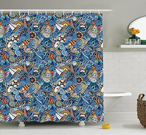 Beach Tropical Ocean Shower Curtain Nautical Decor by Ambesonne, Seashells Seahorse Corals Fish Globe Maps Wavy Ocean Abstract Design, Fabric Bathroom Set, 84 Inches Extra Long, Teal Blue Yellow - Map Seashell