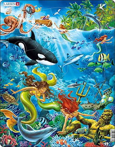 Larsen Puzzles Mermaids Educational Jigsaw Puzzle - 32 Piece Tray & Frame Style Puzzle - Exclusive Premium Hand Made Puzzles - Imported from Norway