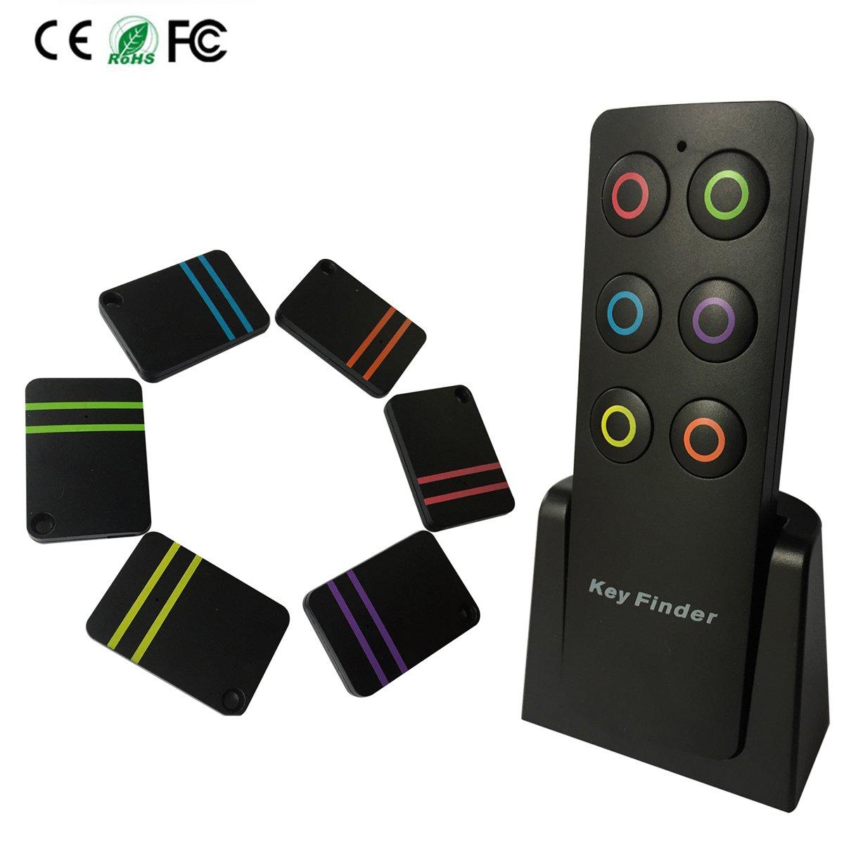 トラッカーキーファインダー、smavidaリモートファインダーロケータ失わキーチェーンキーFob車キー電話財布、1送信機with 6色分けされたFinders [バッテリー交換可能]   B07CJRWKLY