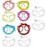 COM-FOUR® 10x Brillen Trinkhalme Strohhalme Knicktrinkhalme (Brille Bunt+Transparent - 10 Stück)
