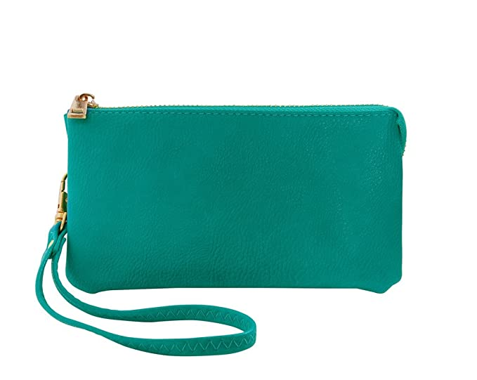 Humble Chic Women's Small Wristlet - Vegan Leather - Turquoise - Phone Purse, Turquoise Blue