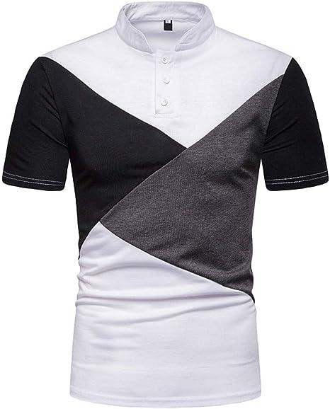 Camisa Hombre Camiseta Camisa de Solapa de Alto Grado de Costura de Tres Colores de los