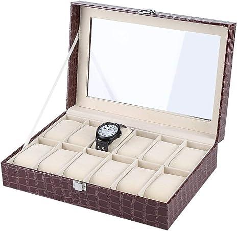 Caja para Relojes, Estuche para relojes con 12 compartimentos(Café): Amazon.es: Hogar
