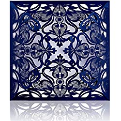 PONATIA 25 PCS MR & MRS Laser Cut Square Wedding Invitations Cards Set with Laser Flowers for Wedding Bridal Shower Engagement Birthday Graduation Party Invite(Navy Blue)
