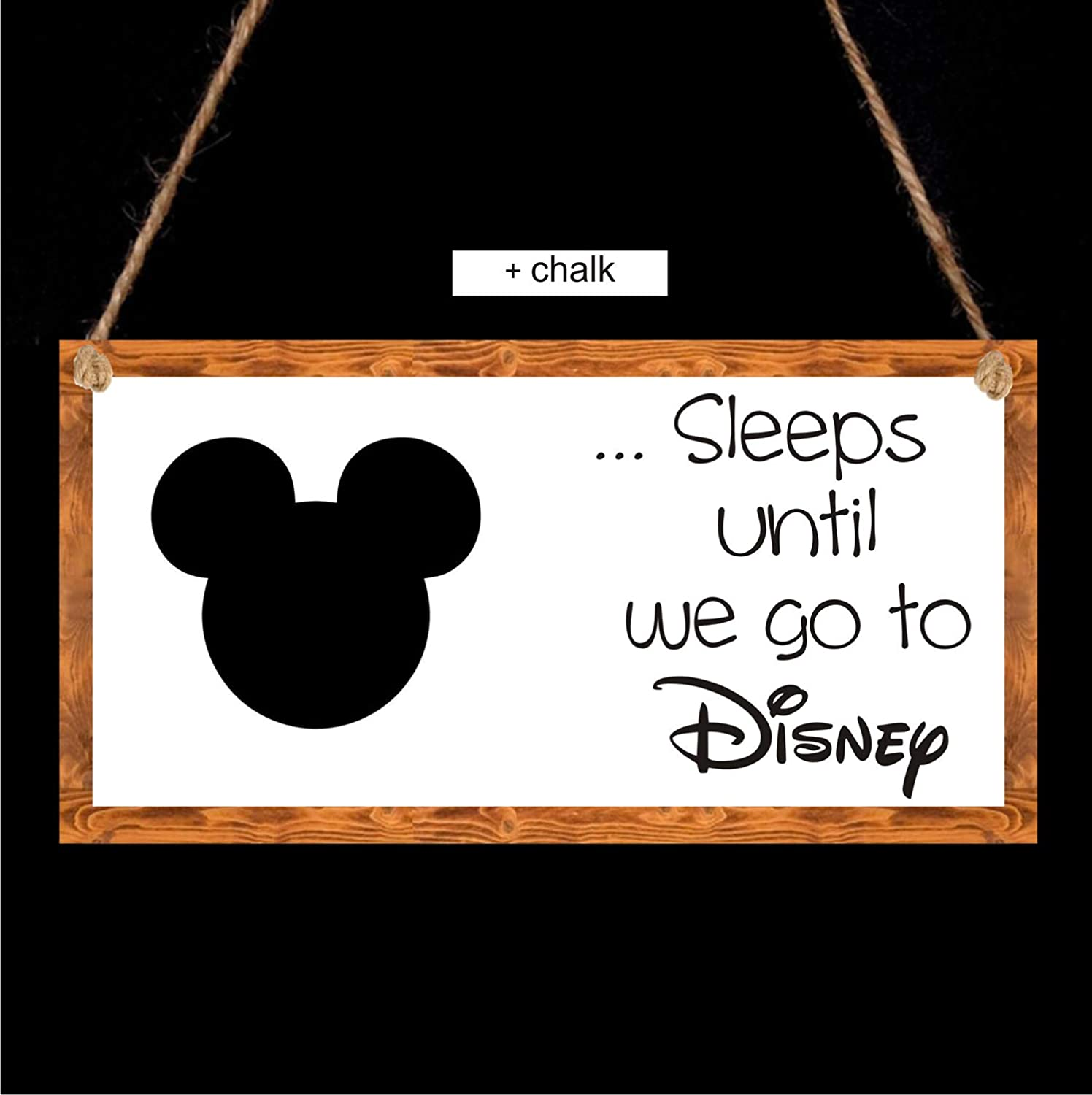 agiftforyou Disney Countdown Chalkboard Plaque - Sleeps until we go to Disney A Gift For You UK