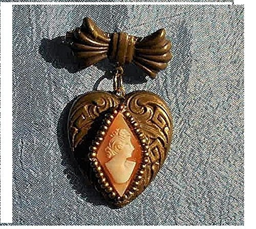Victorian Marquis Shell Cameo Filligree Heart w/ Bow, Hand Carved Diamond Shape Gold Seed Beads on Brass Repousse Sweetheart Bow Necklace. . ONE OF A KIND! ()