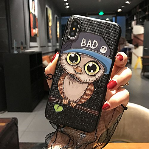 BONTOUJOUR iPhone XR Cover Case Super Cute Fun Embossed Cartoon Animal Pattern Soft TPU Bumper Hard PC Back Cover 360 Degree Protection-Blue Night owl