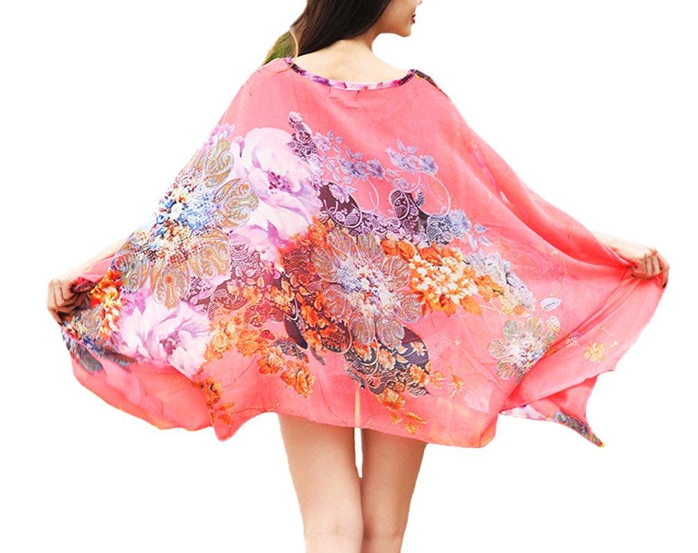 Qunsia Women's Chiffon Caftan Poncho Tunic Top Cover up Batwing Blouse by Qunsia (Image #2)