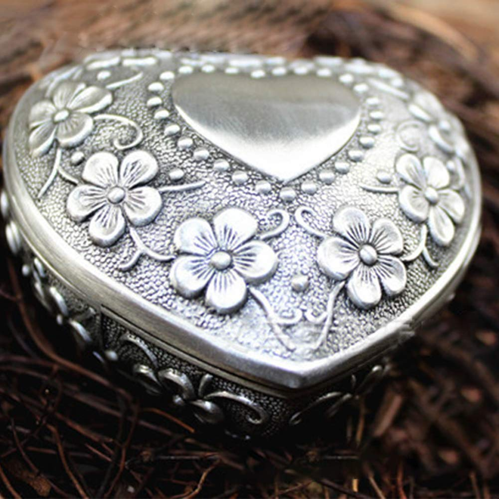 Portagioie a forma di cuore, 3D fiore modello vintage antico piccolo portagioie orecchini anelli con custodia Taglia libera Heart Excellent112