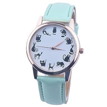 4b9b4cb3f8c95e Tonsee レディース腕時計 レザーバンド アナログ表示 可愛い 猫 パターン ウォッチ 女性用 (グリーン)