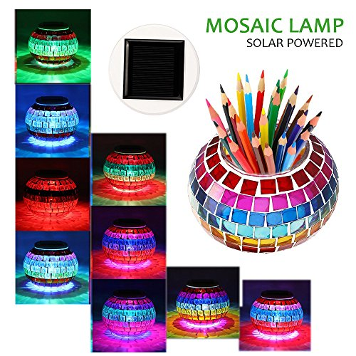 Solar Table Light Eco-Home Mosaic Glass Ball Garden Lights Changing Waterproof Solar Table Lamps for Outdoor Indoor (Mosaic) Storing Net Christmas Lights