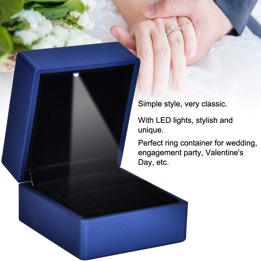 01 Wedding Ring Box Container Jewelry Pendant Holder Storage Case LED Light for Girls Mother Women