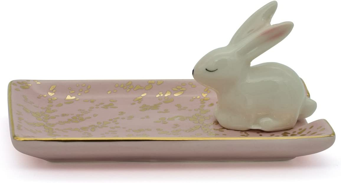 Exembe Bunny Inspiration Earring Tray Trinket Ring Dish Ceramic Jewely Holder Pink White