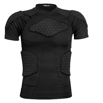 ZICAC Camiseta deportiva de manga corta con acolchados de compresión ... 90204e911e41a