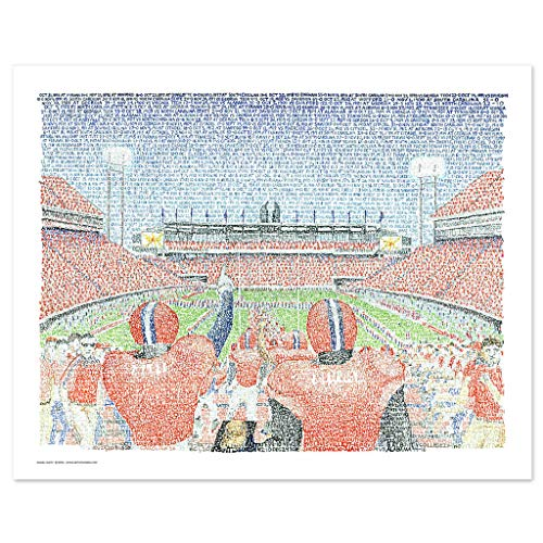 Clemson Tigers Memorial - Clemson Tigers Memorial Stadium Word Art - Handwritten with The Date, Score, Opponent of Every Win in Team History - Clemson Poster- Clemson Gifts & Decor