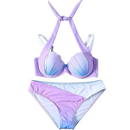 24603c6fff93f Feibi Women's Bikini Set Mermaid Shell shape Gradient Push up Padded Top +  Low Rise Bottom