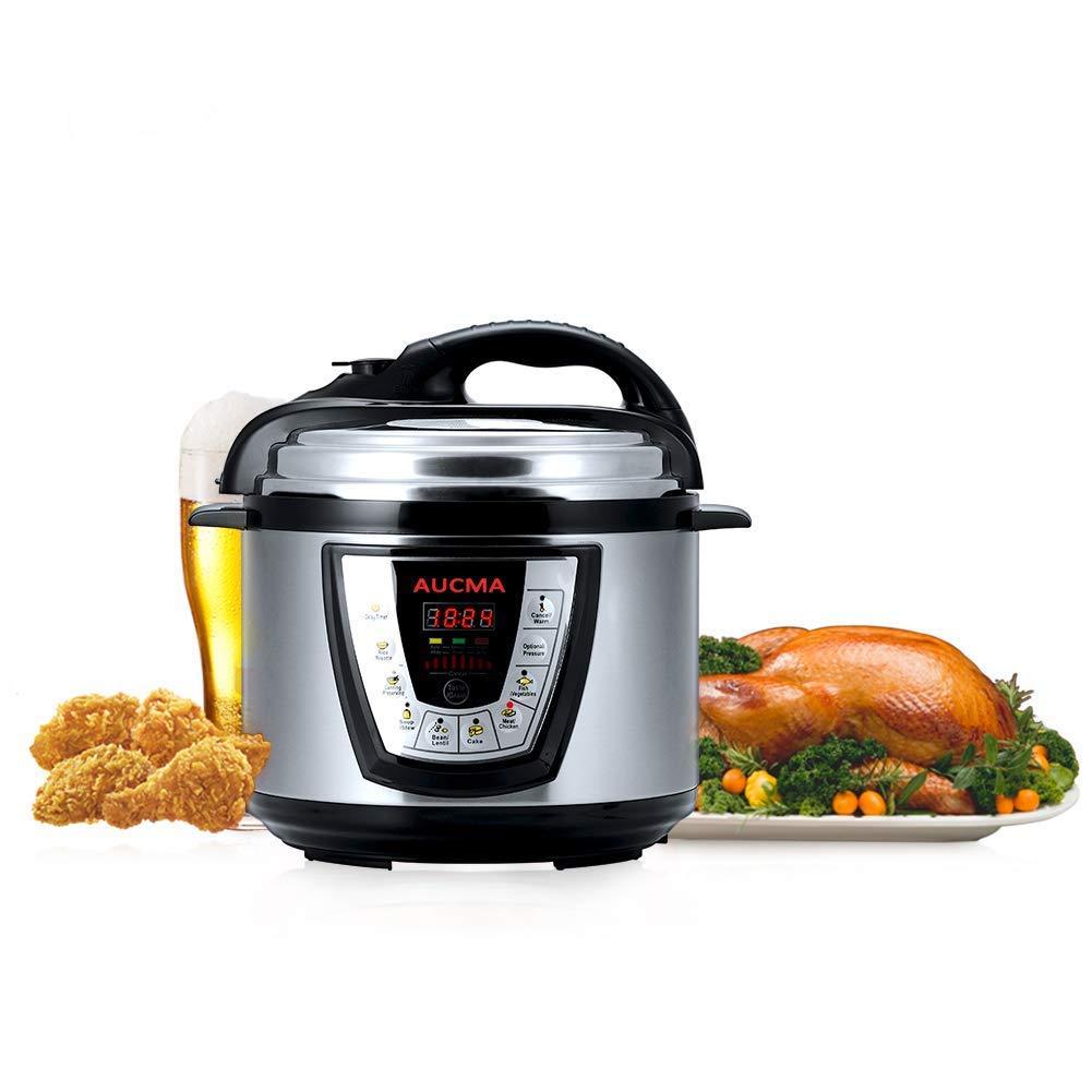 Aucma Electric Pressure Cooker, 6 Qt 8-in-1 Multi-Use Programmable Pressure Cooker, Rice Cooker, Slow Cooker, Steamer, Hot Pot, Sauté, Yogurt Maker and Warmer, 1000W, Stainless Steel Sauté