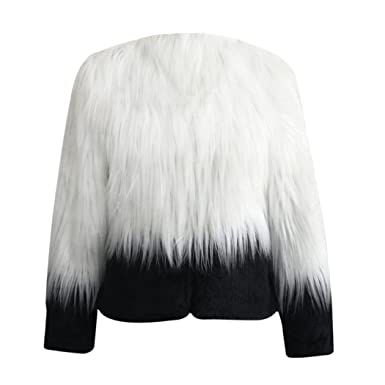 91dd2f73c6d3 Image Unavailable. Image not available for. Color: FUNOC Women's Collarless  Ombre Shaggy Faux Fur Jacket Coat