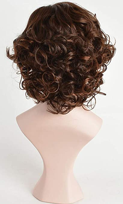 Amazon.com : FENCCA Short Curly Wigs for Women Brown Big Curly Bob Wigs Natural Looking Heat Resistant Synthetic Fashion Hair Wigs with Wig Cap (B3) : ...