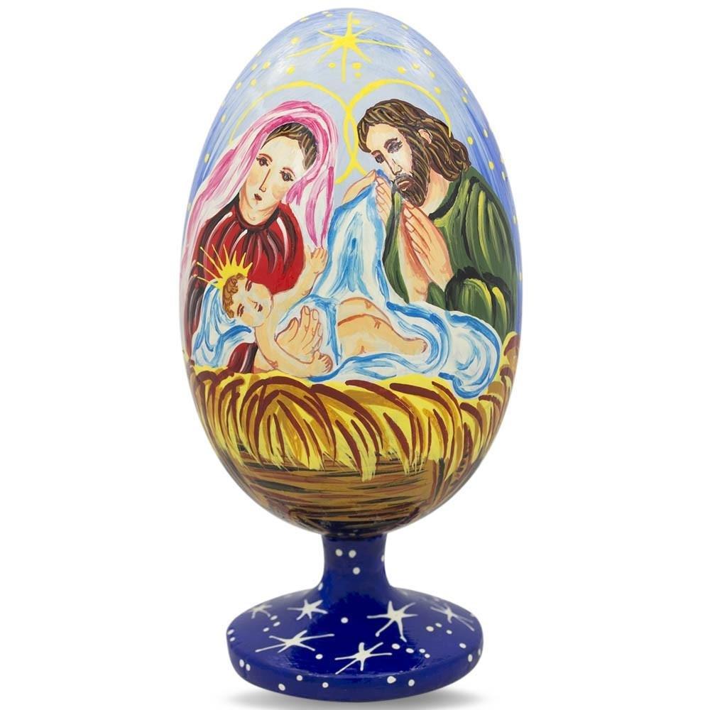 BestPysanky 4.75'' Mary Overlooking Jesus Nativity Scene Wooden Egg Figurine