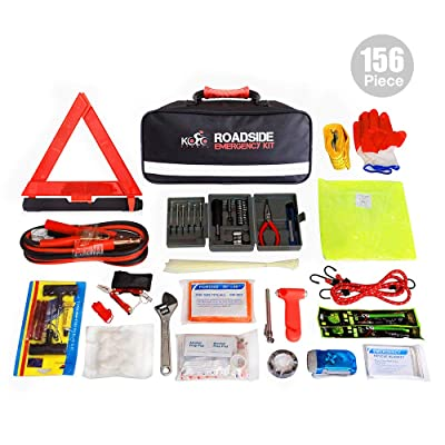Kolo Sports Roadside Emergency Kit 156-Piece Multipurpose Emergency Pack - Great for Automotive Roadside Assistance & First Aid Set - The Ultimate All-in-One Solution: Automotive