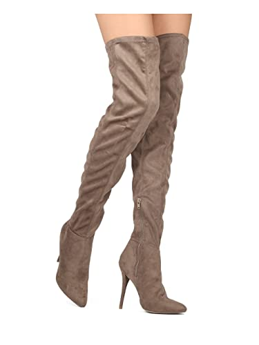 ea4d994cb1f Alrisco Women Faux Suede Thigh High Pointy Toe Stiletto Boot HE22 - Taupe Faux  Suede (