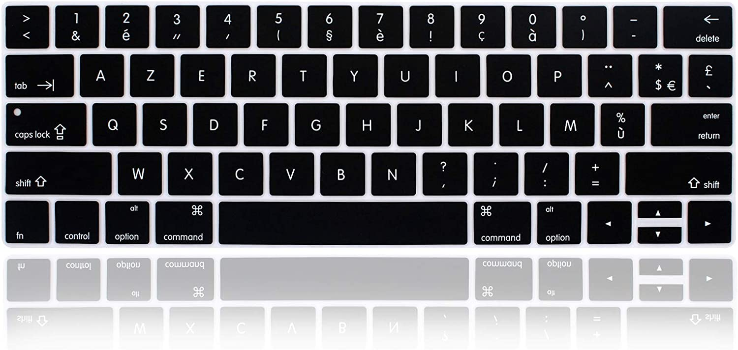 MMDW French Language AZERTY Keyboard Cover Skin for MacBook Pro with Touch Bar 13-inch 15-inch (Model A2159,A1989,A1990,A1706,A1707)(2019 2018 2017 2016) USA Layout Protective Skin