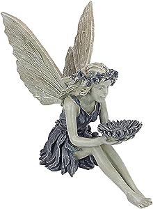Sunflower Sitting Fairy Statue,Fairy Statue Bird Feeder,Bird Feeder Two Tone Stone Outdoor Decoration,Antique Resin Angel Craft, Home Table Ornaments(Sunflower Fairy W40)
