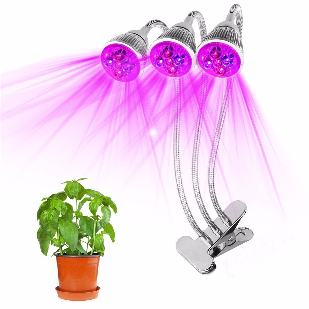 Hotsellhome Upgraded Adjustable 360 Degree Flexible LED Plant Lights 15W Plant Grow Light Plant Hydroponics Lamp Triple Head Plant Growing Lamp for Indoor Greenhouse Hydroponics Garden Plants