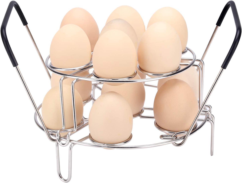 KSPOWWIN Stackable Egg Steamer Rack Trivet with Heat Resistant Handles Fits 5,6,8 Quart Instant Pot Pressure Cooker,2 Pack Stainless Steel Multipurpose Upgrade Egg Steamer Rack
