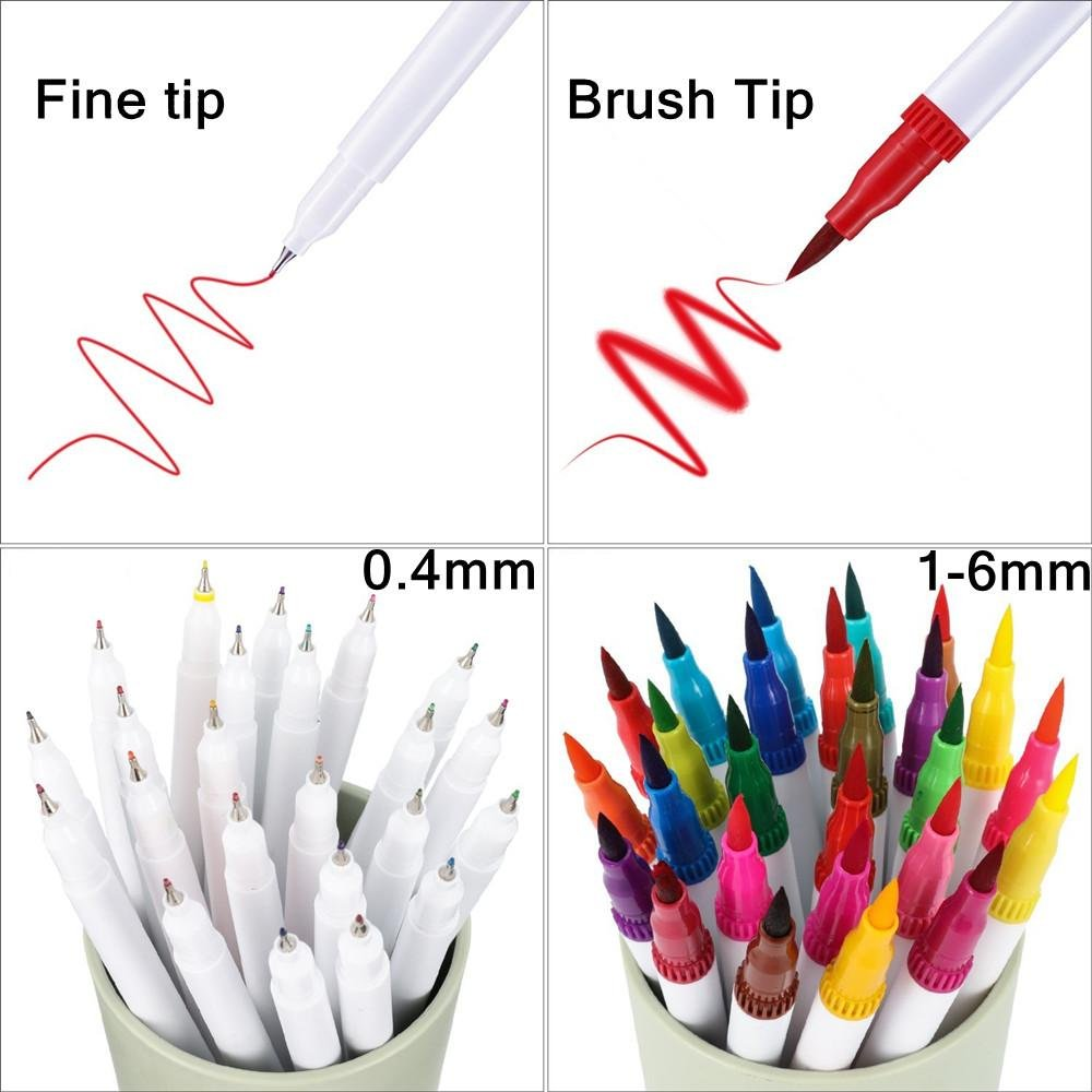 60 Dual Tip Brush Pens Art Markers,MontoSun Coloring Marker Pens Fine Liners and Brush Tip Colored Pen for Adult Drawing Sketching Painting by MontoSun (Image #2)