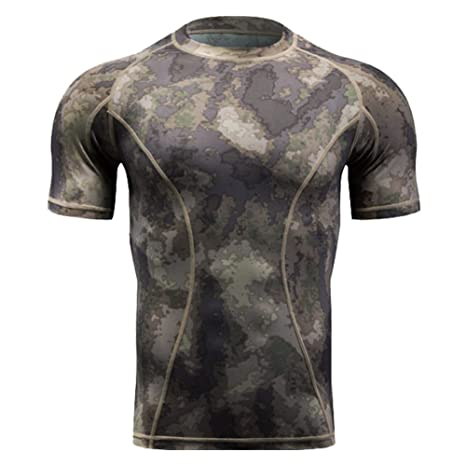 58a73072 QIAOMENG Camouflage Tactical T-Shirts Short Sleeve for Men Quick Dry Fit Army  T-
