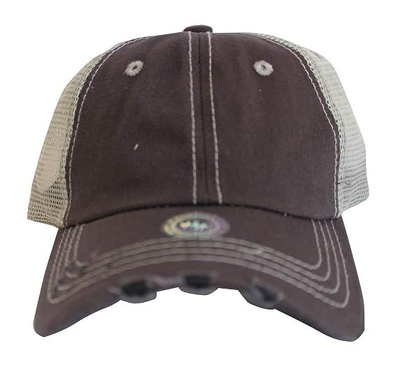 Rob sTees Blank Distressed Twill Cotton Mesh Back Dad Cap Low Profile  Adjustable Trucker Hat b4f43345c90