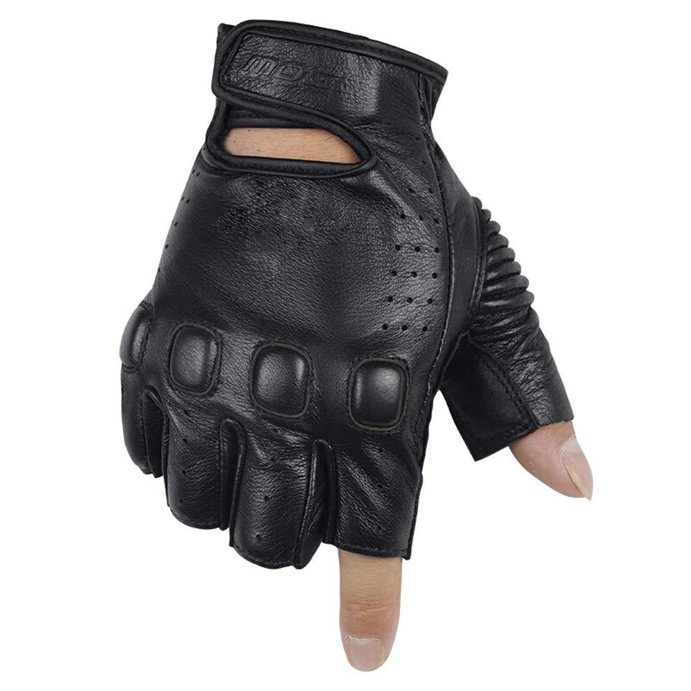 GXY Lederhandschuhe, Motorradhandschuhe, Drop-Proof, Halbe Fingerhandschuhe, Persönlichkeit, Schutzhandschuhe, Schwarz Handschuh (größe : M)
